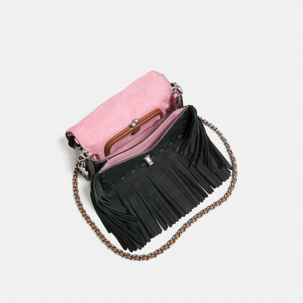 Coach Dinky in Very Natural Pebble Leather With Wild Tea Rose Fringe Alternate View 2