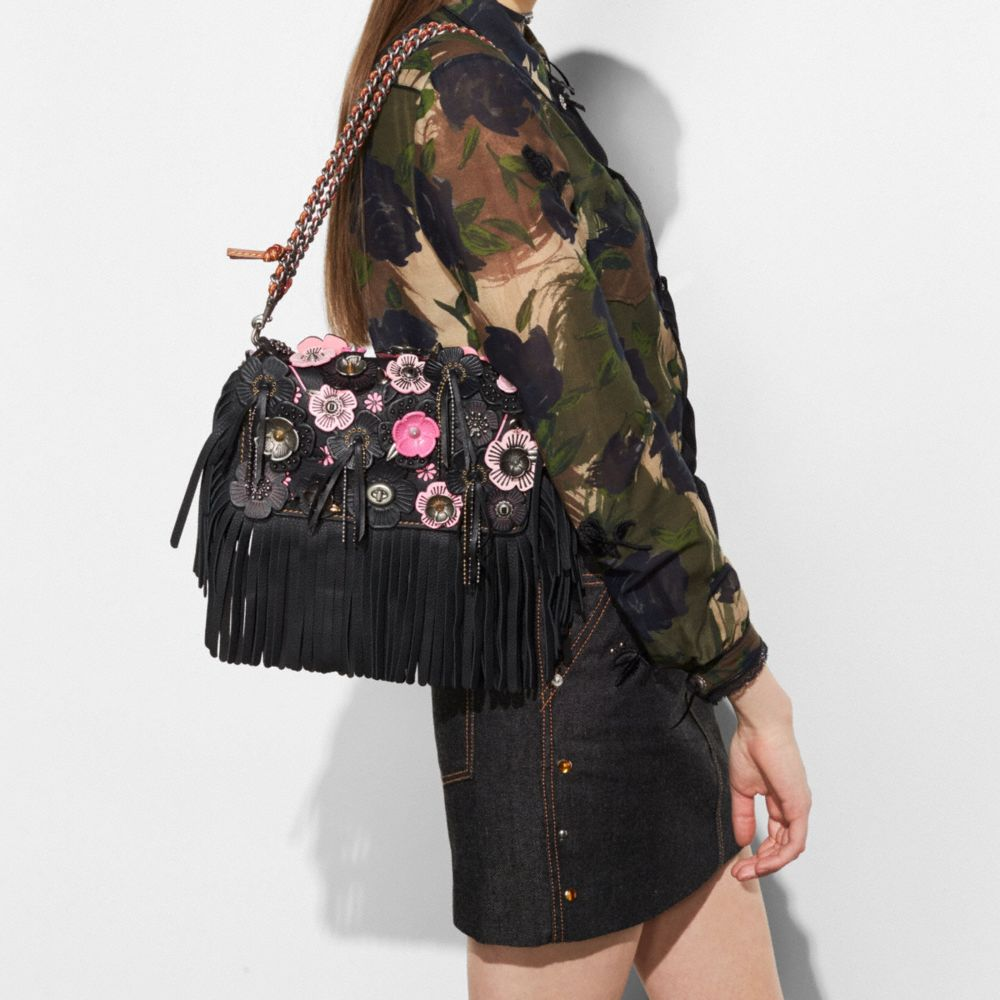 Coach Dinky in Very Natural Pebble Leather With Wild Tea Rose Fringe Alternate View 4