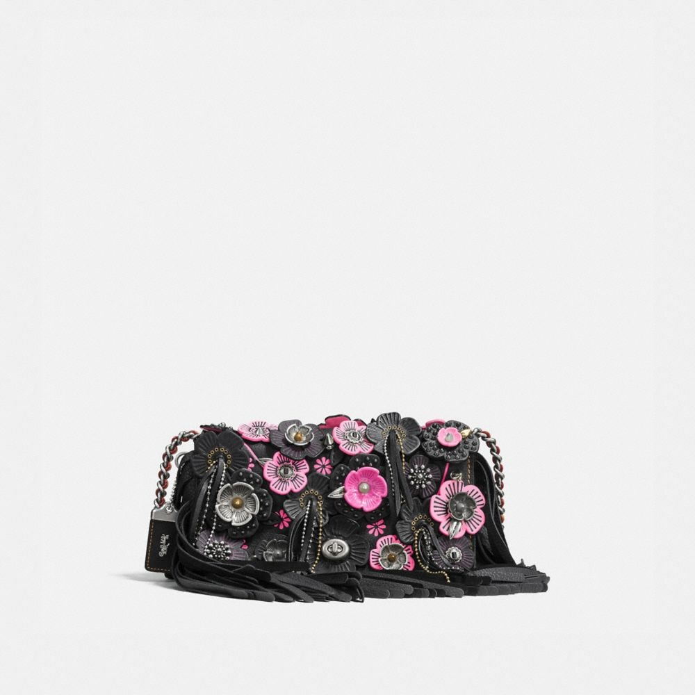 Coach Dinky in Very Natural Pebble Leather With Wild Tea Rose Fringe