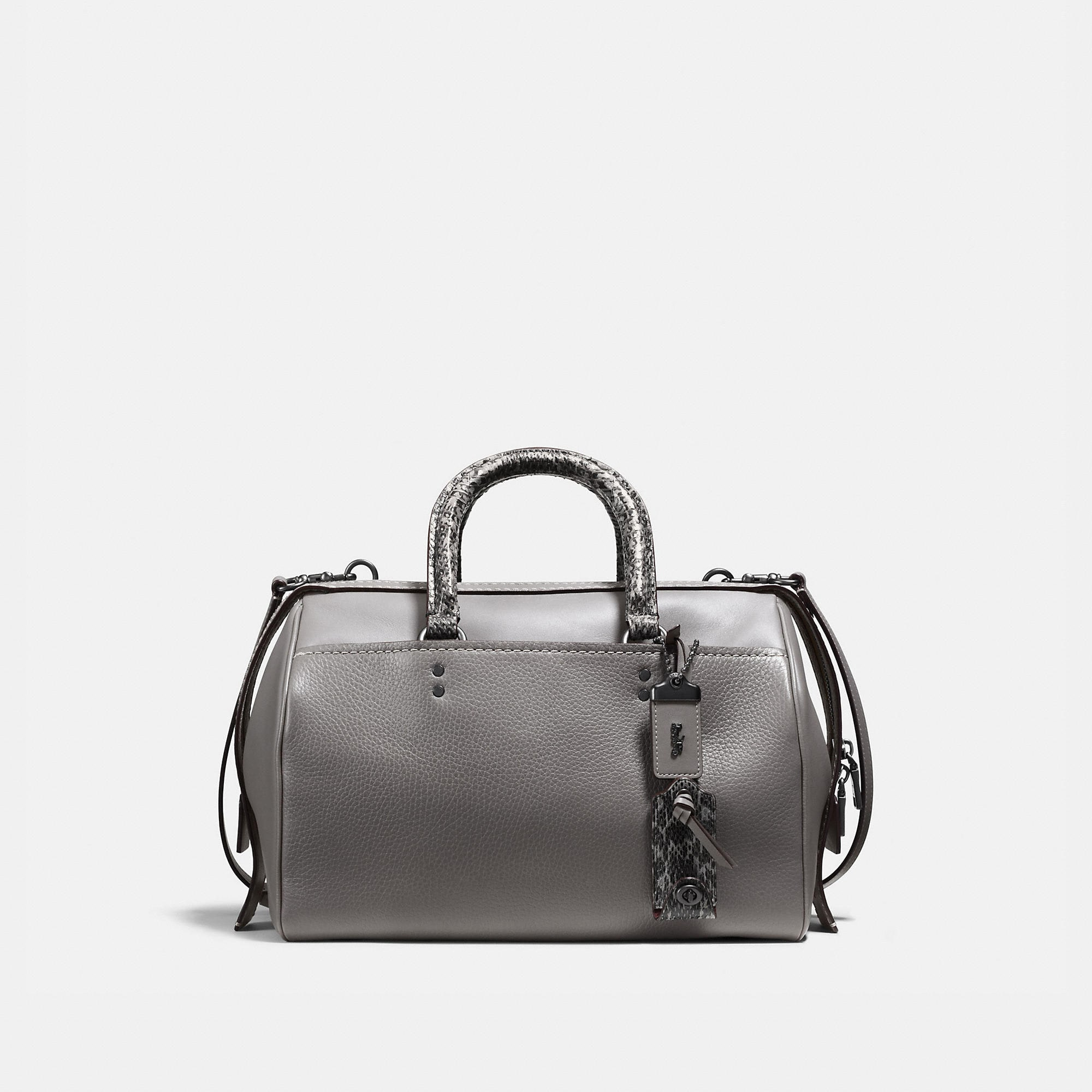 Coach Rogue Satchel In Glovetanned Pebble Leather With Colorblock Snake