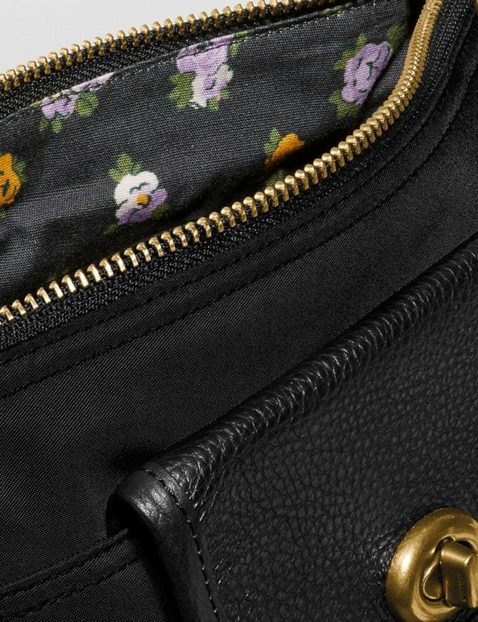 Coach Cargo Crossbody With Vintage Rose Print Interior Brass/Black Women Bags Crossbody Bags Alternate View 5