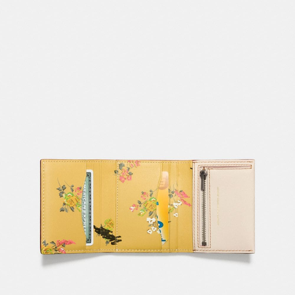 Coach Small Trifold Wallet With Floral Print Interior Alternate View 1