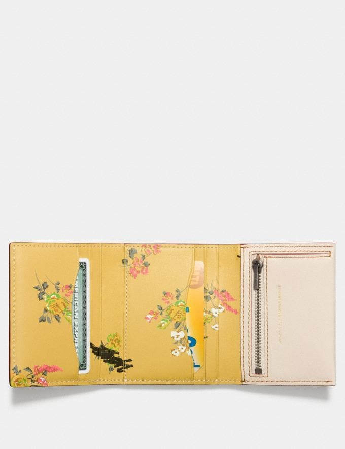 Coach Small Trifold Wallet With Floral Print Interior Chalk/Brass SALE Women's Sale Wallets & Wristlets Alternate View 1