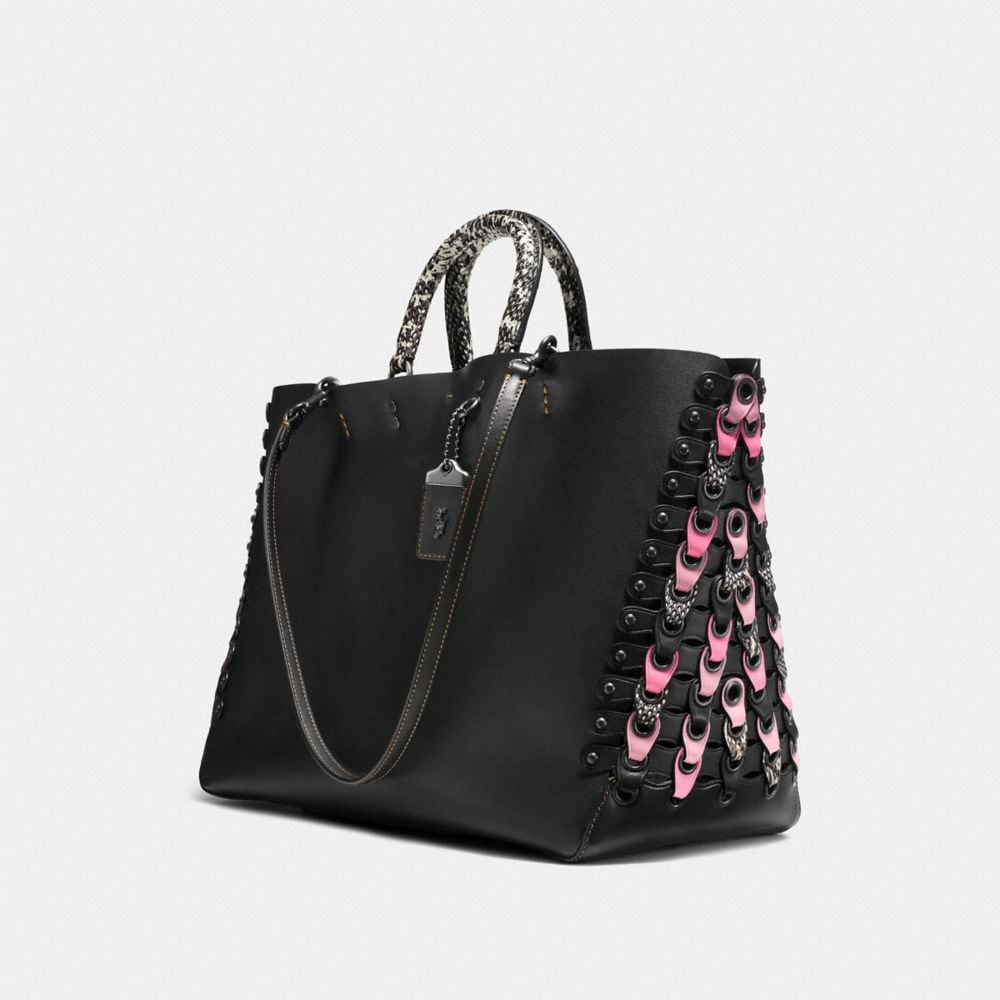 Coach Rogue Tote With Snakeskin Coach Link Detail Alternate View 3