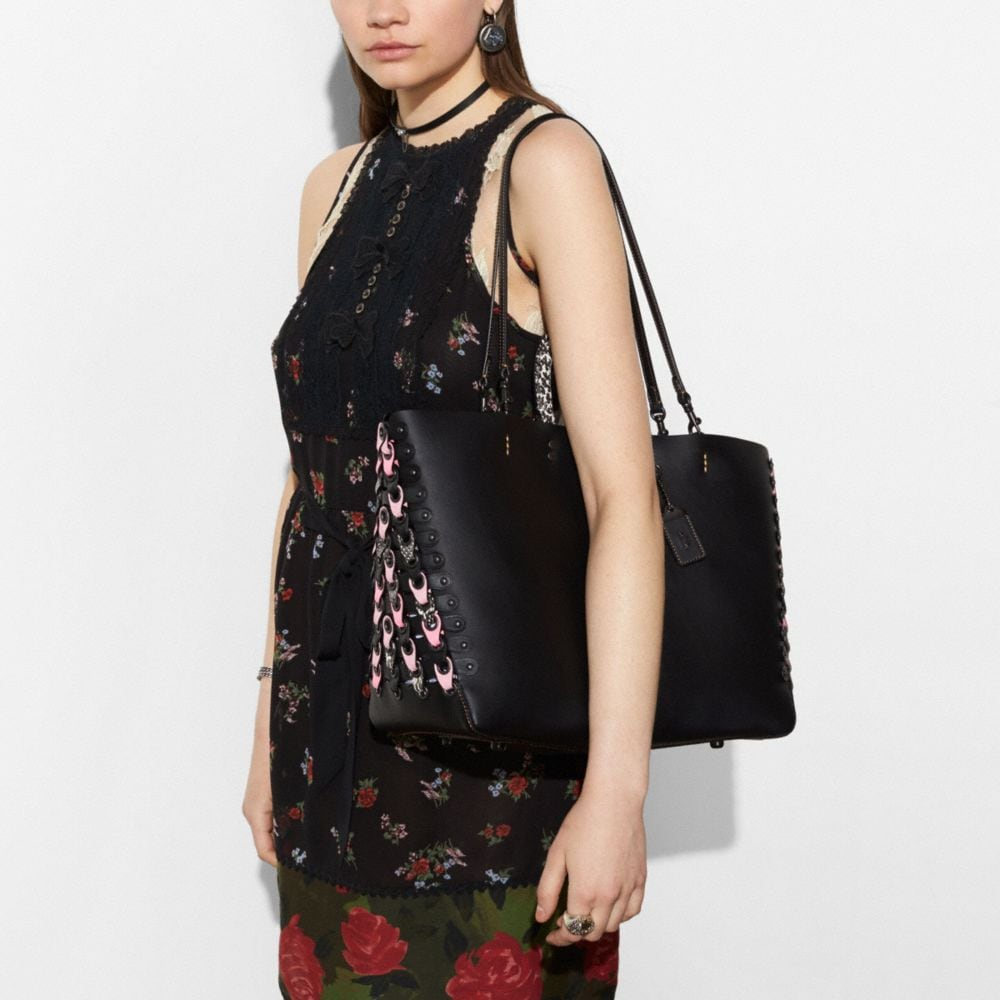Coach Rogue Tote With Snakeskin Coach Link Detail Alternate View 4