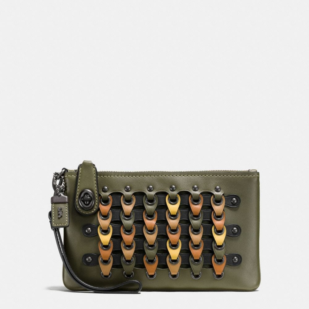 TURNLOCK WRISTLET 21 IN COLORBLOCK COACH LINK LEATHER