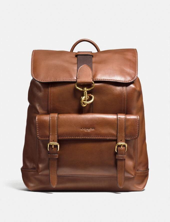 Coach Bleecker Backpack Dark Saddle/Brass Men Bags Backpacks