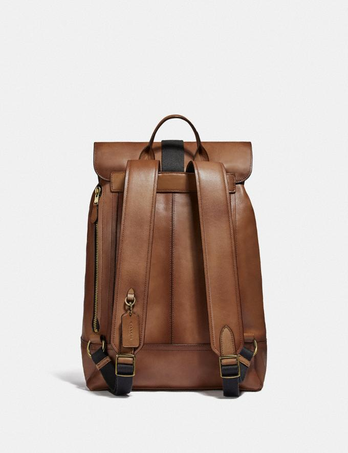 Coach Bleecker Backpack Dark Saddle/Brass Men Alternate View 2