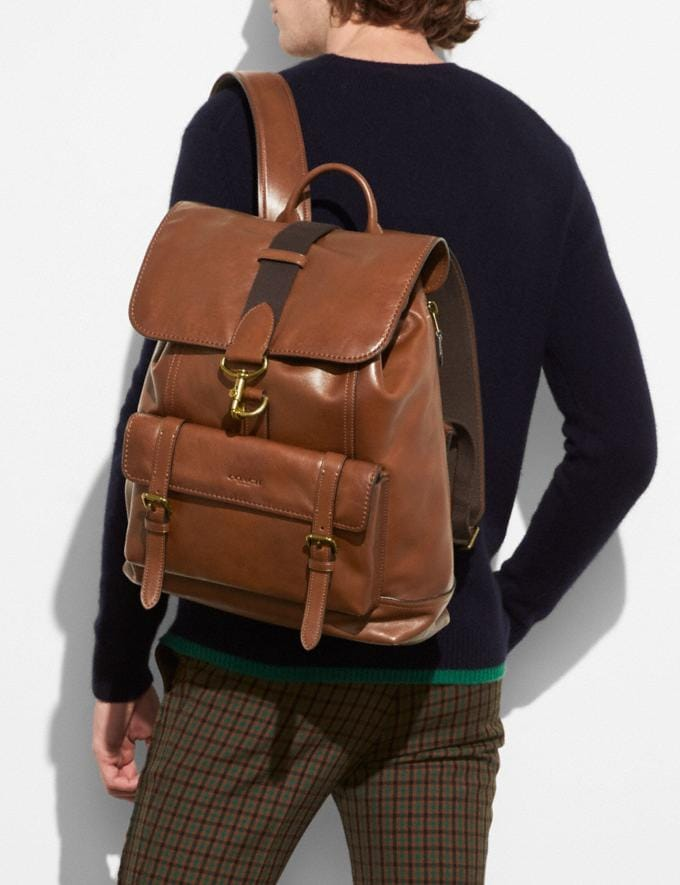 Coach Bleecker Backpack Dark Saddle/Brass New Men's New Arrivals Bags Alternate View 4