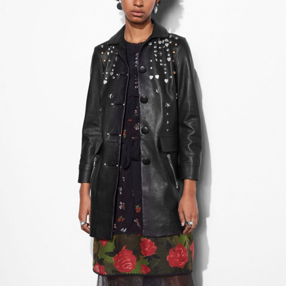 Coach Leather Beatnik Rivet Coat