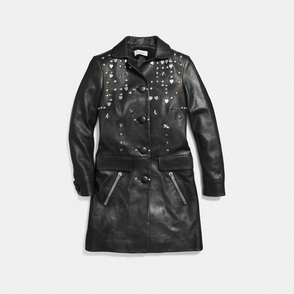 Coach Leather Beatnik Rivet Coat Alternate View 1
