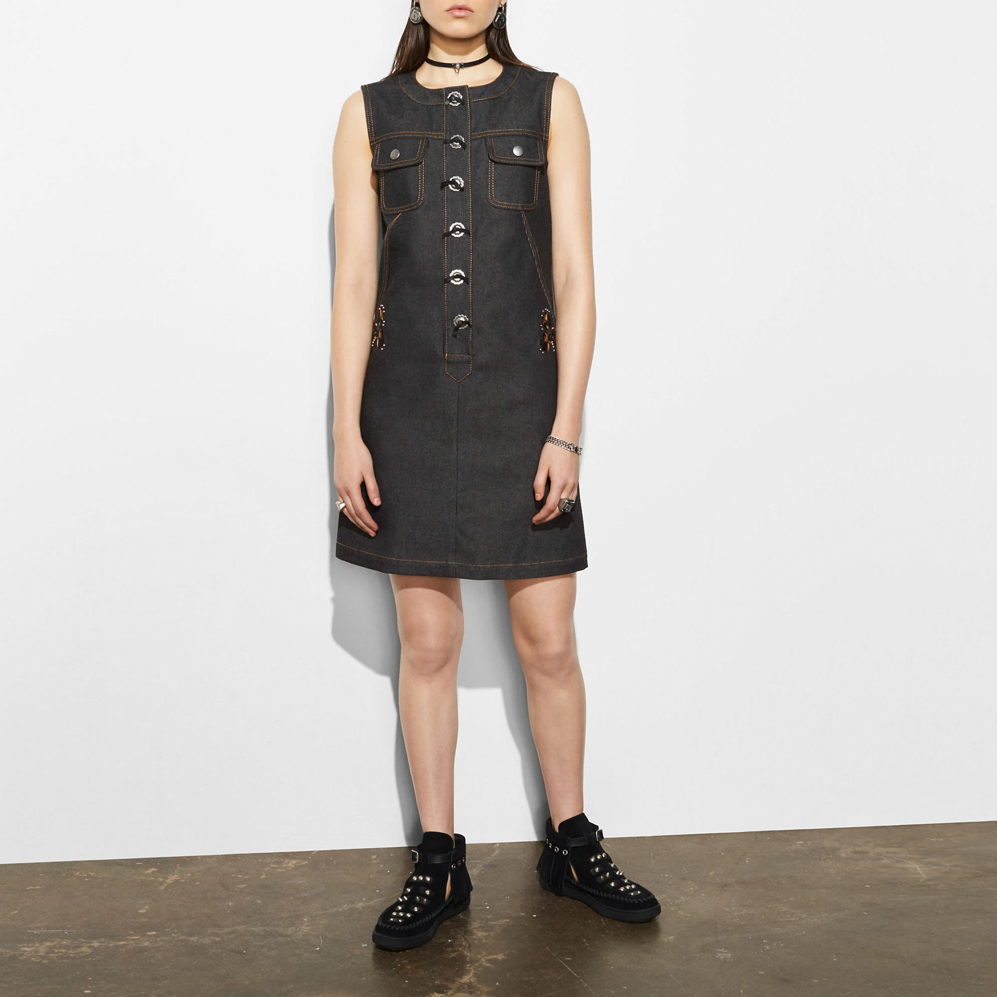 Coach Sleeveless Denim Dress