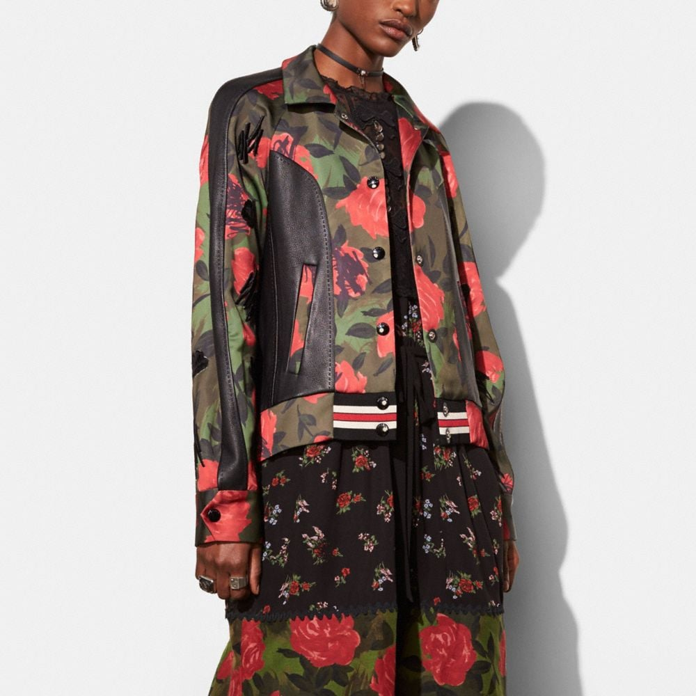 CAMO ROSE VARSITY JACKET WITH RAGLAN SLEEVE