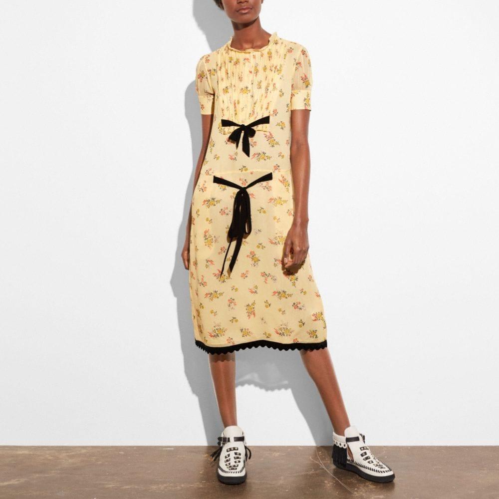 Cross Stitch Floral Pleated Bib Dress