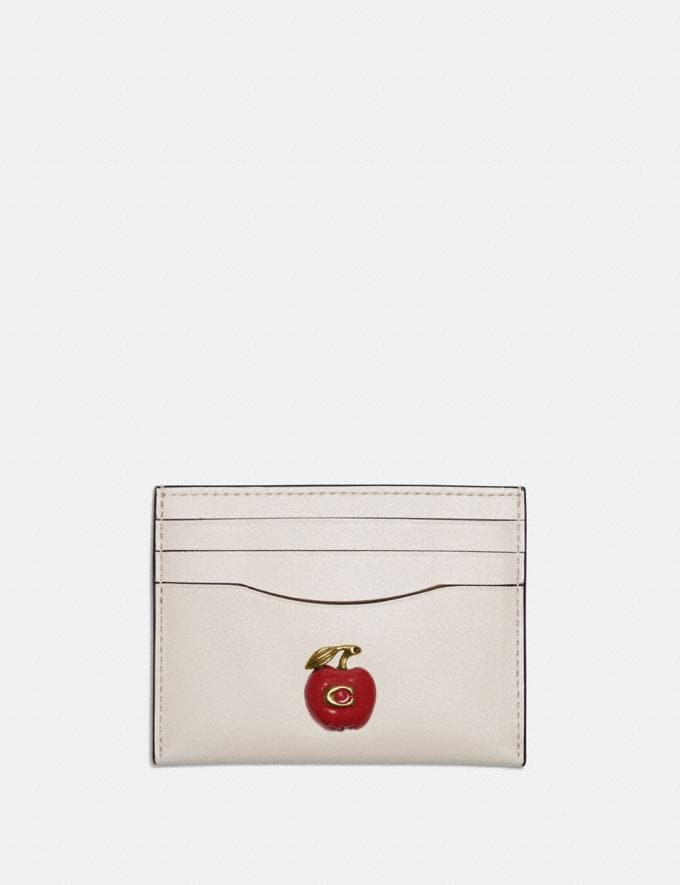 Coach Card Case With Apple B4/Chalk Damen Kleine Lederaccessoires Kartenetuis