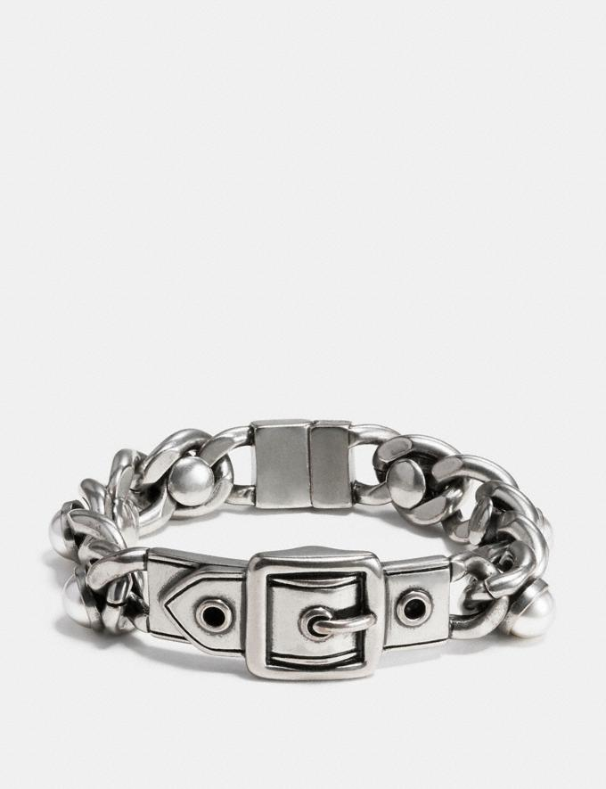 Coach Wide Pearl Buckle Id Bracelet Silver Women Accessories Jewellery Bracelets