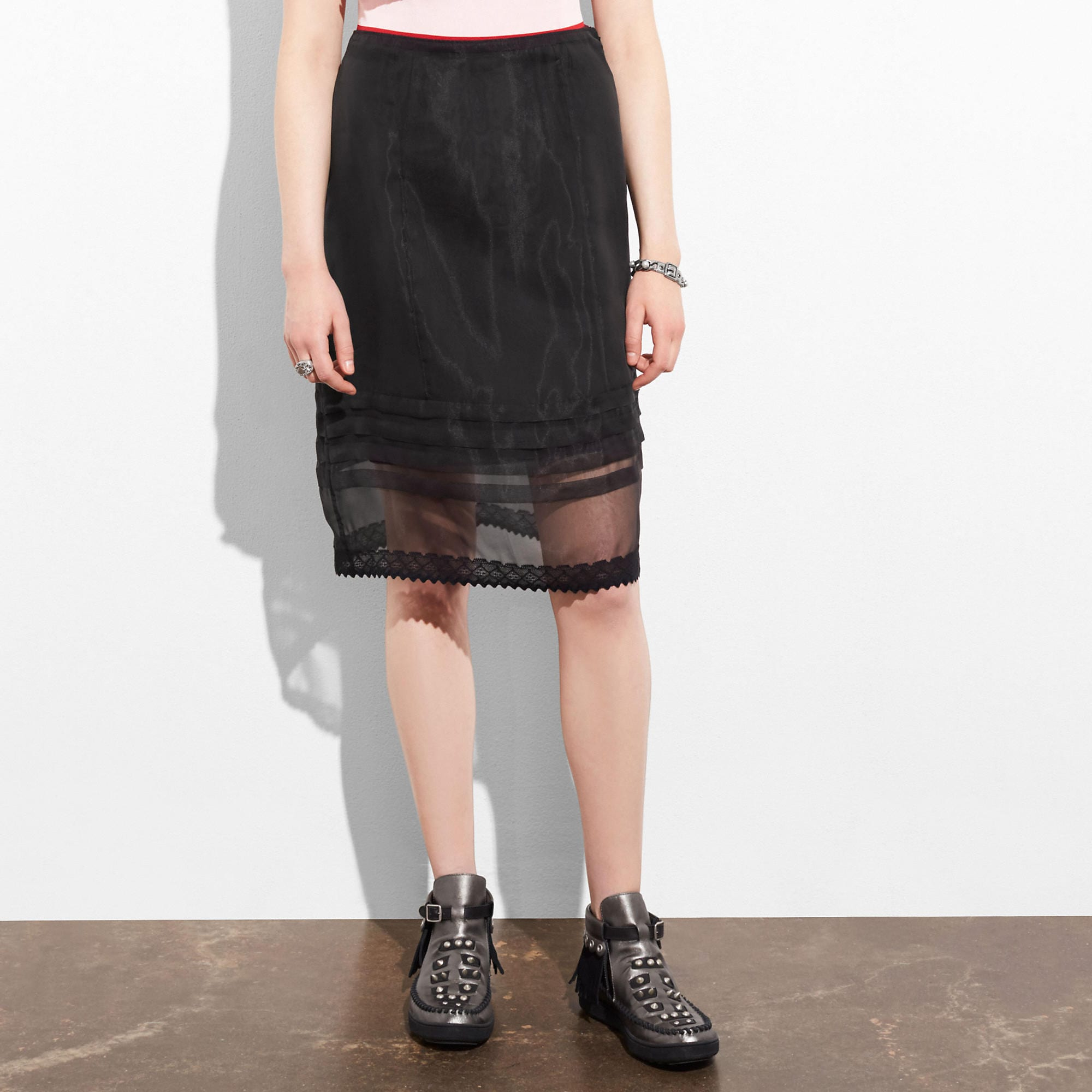 Coach Pin Tuck Straight Skirt