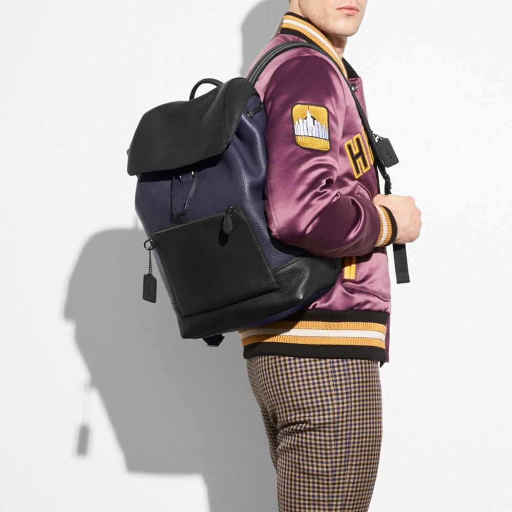 COACH Manhattan Backpack In Colorblock Leather in Burgundy