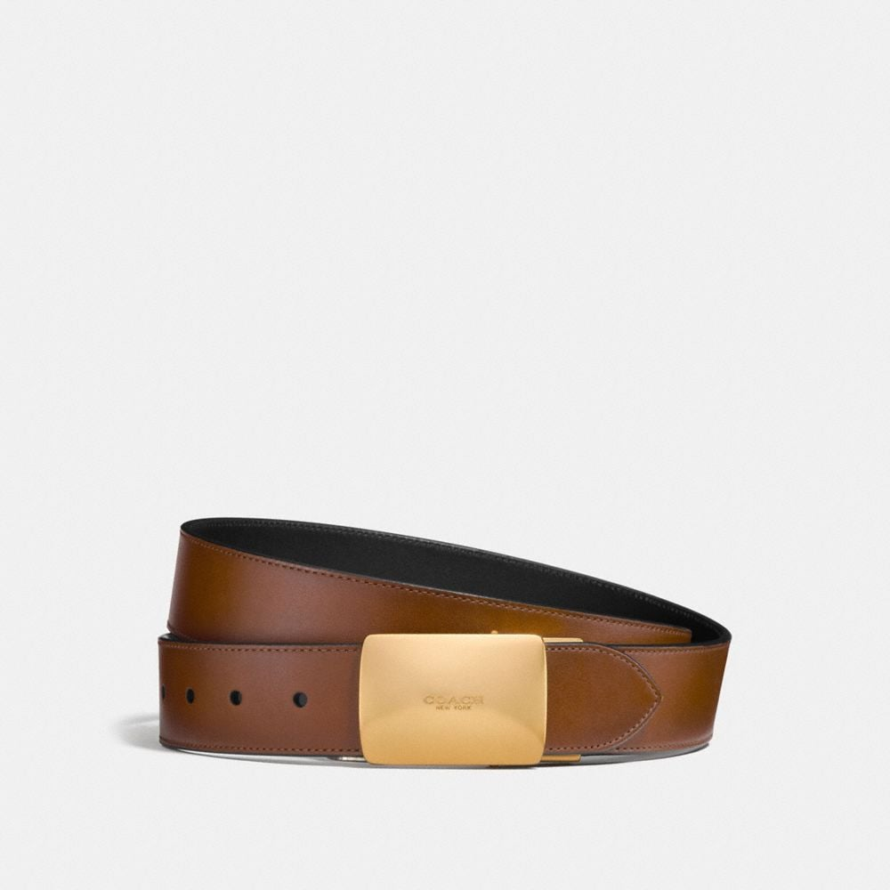 Plaque Cut-To-Size Reversible Burnished Leather Belt