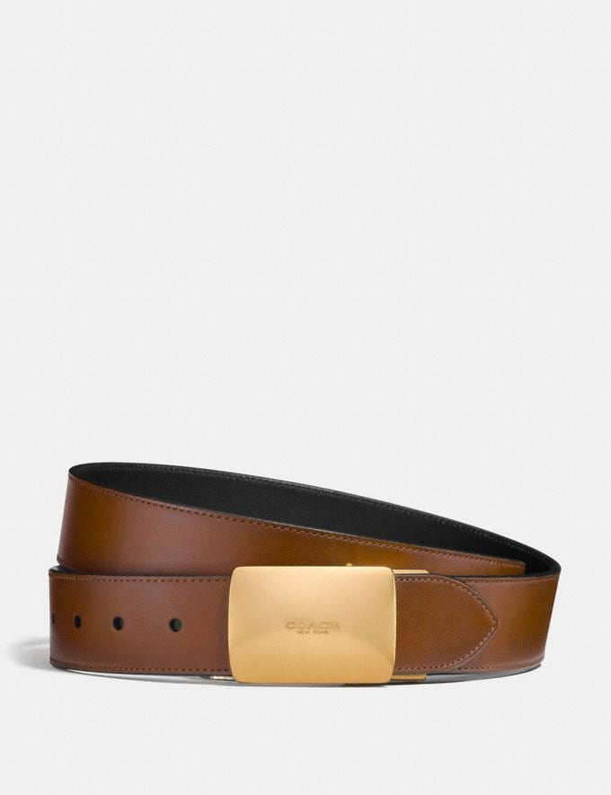 Coach Plaque Buckle Cut-To-Size Reversible Belt, 38mm Dark Saddle/Black Men Accessories Belts