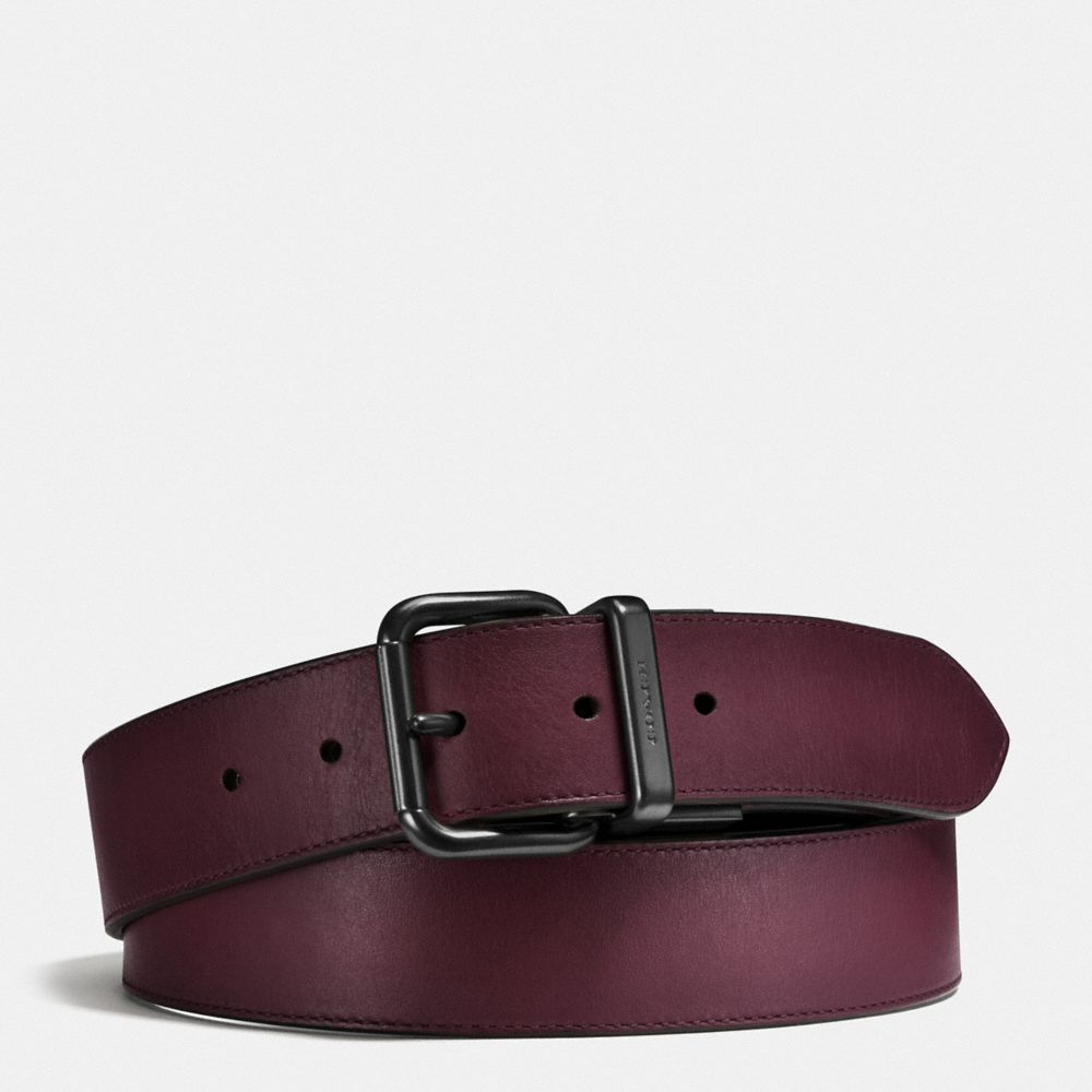 JEANS BUCKLE CUT-TO-SIZE REVERSIBLE BURNISHED LEATHER BELT