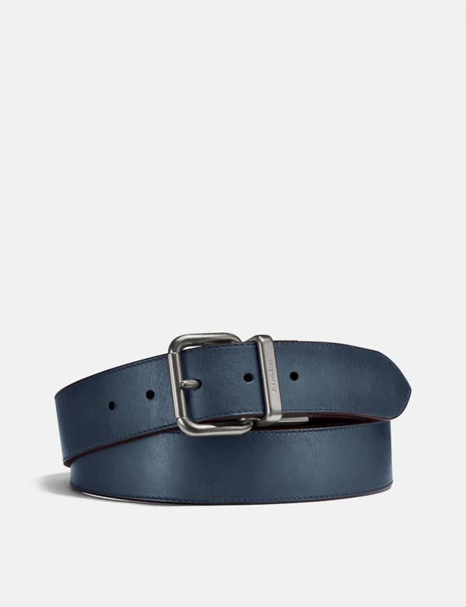 Coach Harness Buckle Cut-To-Size Reversible Belt, 38mm Denim/Chestnut