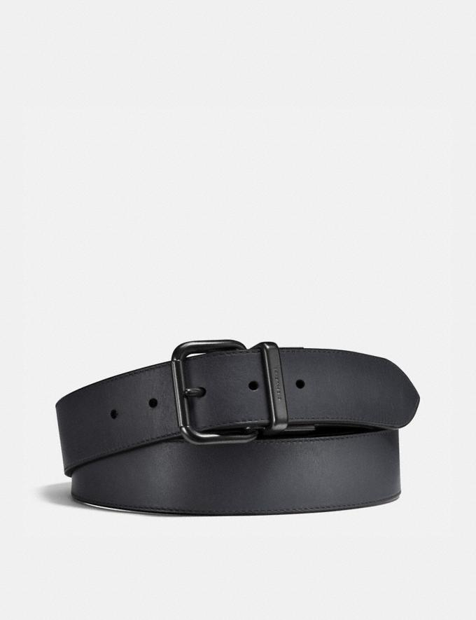 Coach Harness Buckle Cut-To-Size Reversible Belt, 38mm Graphite/Black Men Accessories Belts