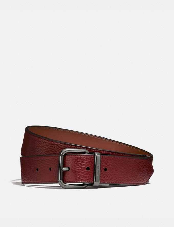Coach Harness Buckle Cut-To-Size Reversible Belt, 38mm Red Currant/Saddle Men Accessories Belts