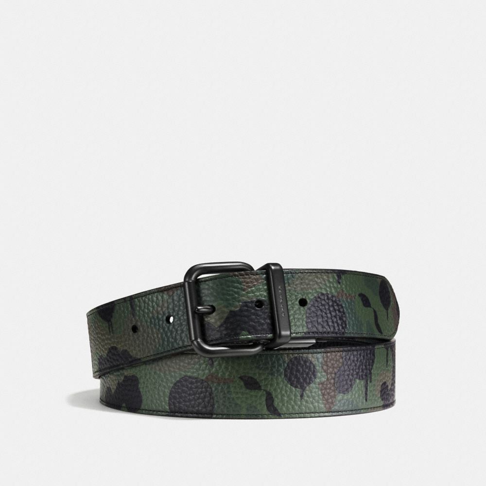 JEANS BUCKLE CUT-TO-SIZE REVERSIBLE WILD BEAST PRINT BELT
