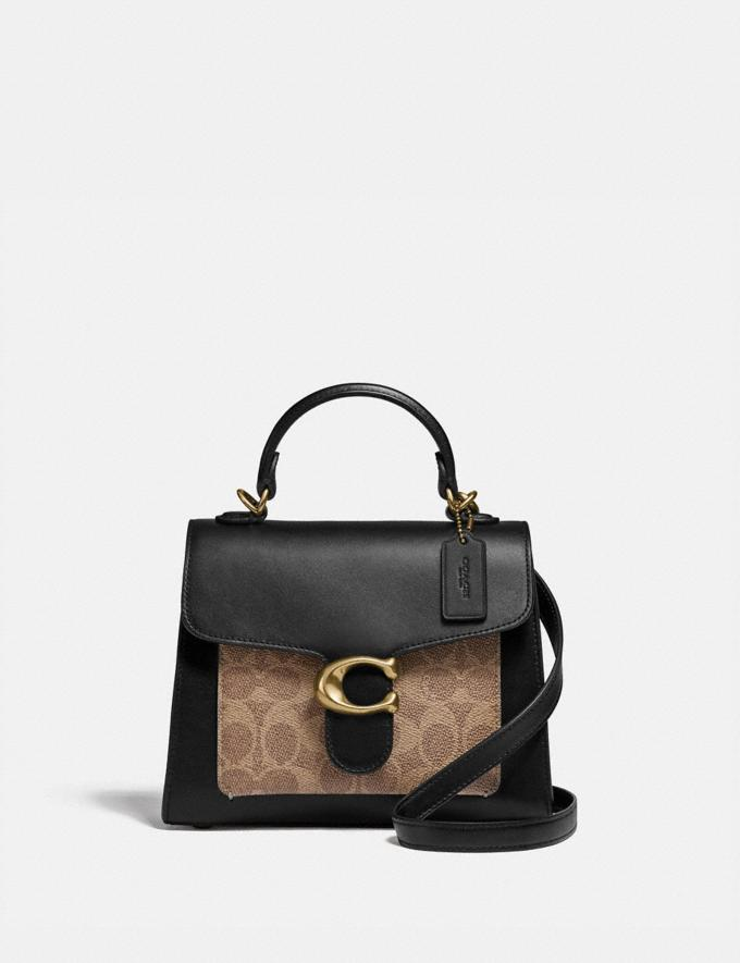 Coach Tabby Top Handle 20 in Signature Canvas Brass/Tan Black