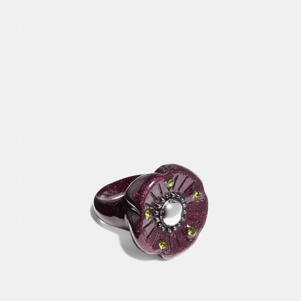 Coach Tea Rose Glitter Cocktail Ring