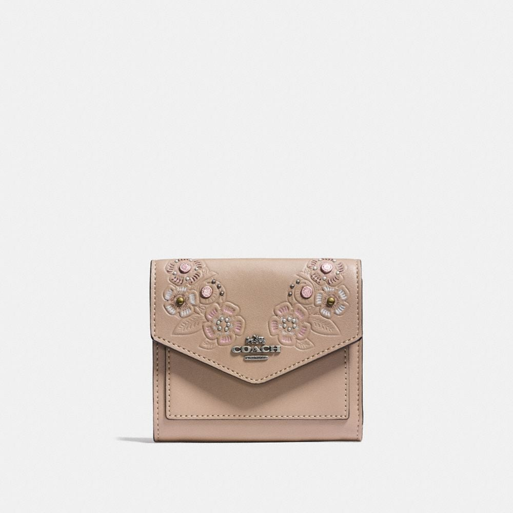 Coach Small Wallet With Painted Tea Rose Tooling