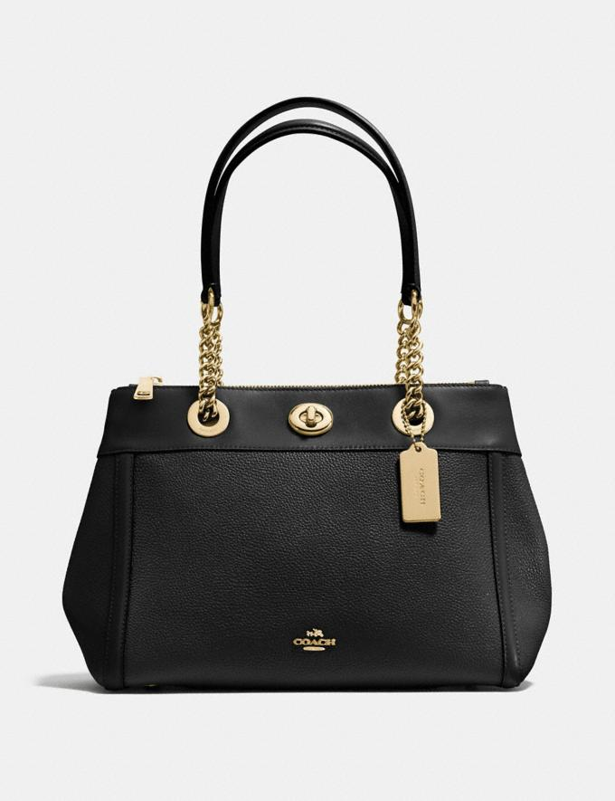 Coach Turnlock Edie Carryall Light Gold/Black Women Bags Satchels & Carryalls
