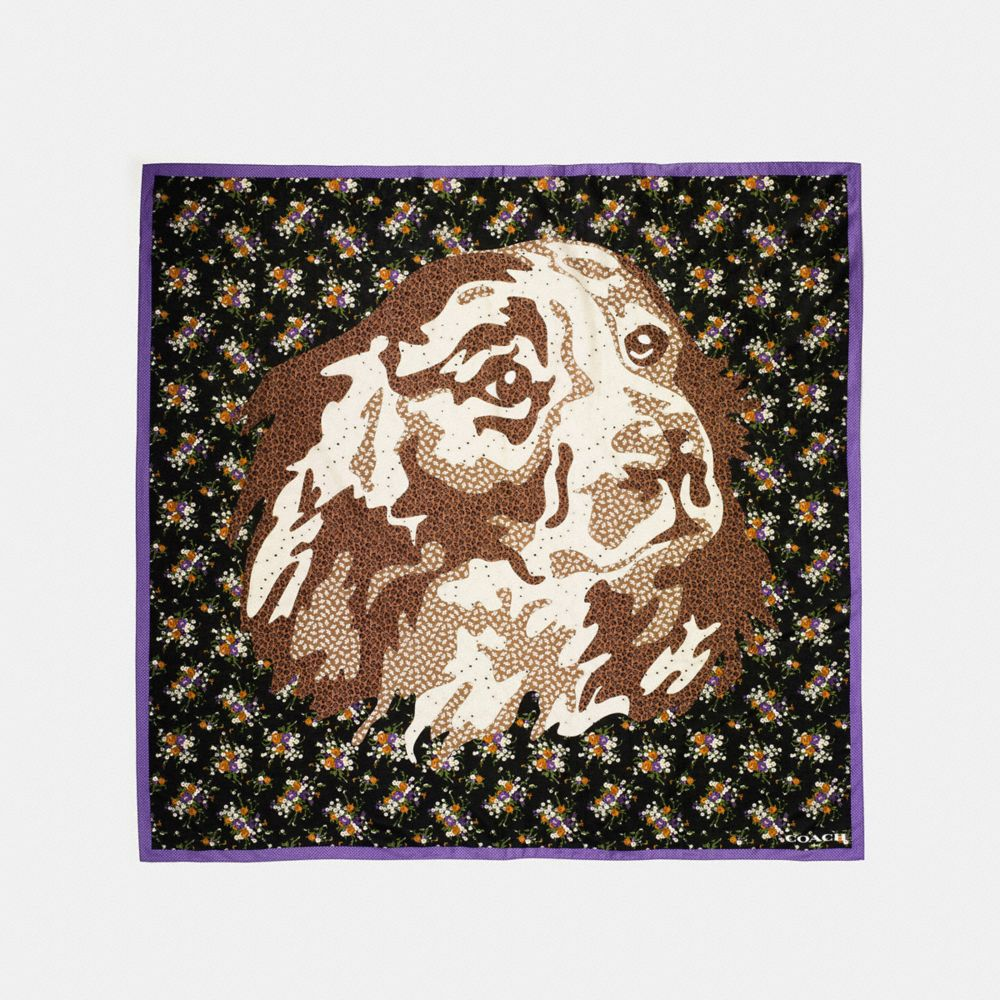 DOG FLOWER PATCHWORK OVERSIZED SQUARE