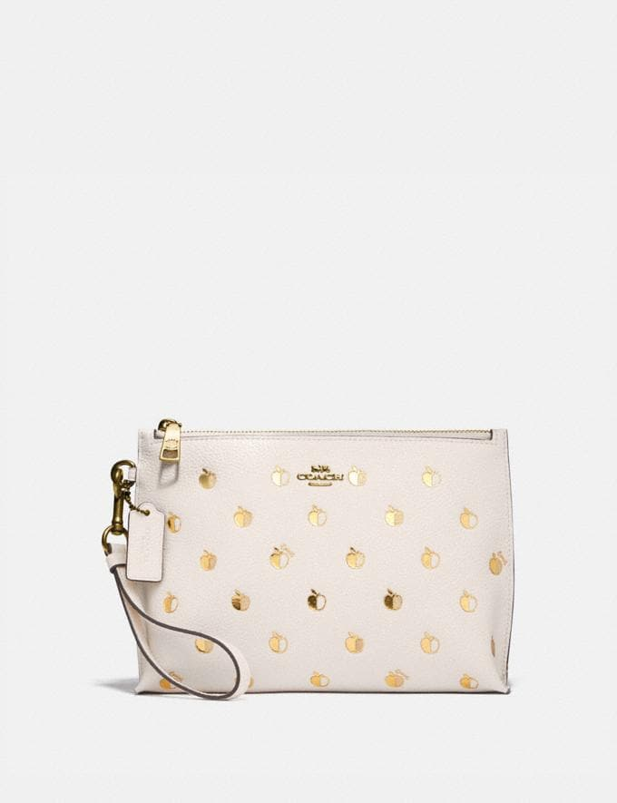 Coach Charlie Pouch With Apple Print Brass/Chalk Multi
