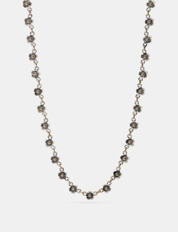 Coach Ditsy Willow Floral Chain Necklace Silver/Gold Staff Sale Women's Sale Jewellery
