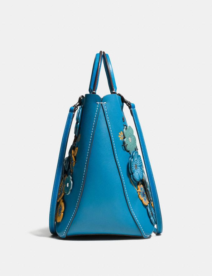 Coach Rogue Tote With Linked Tea Rose Dark Turquoise/Black Copper  Alternate View 1