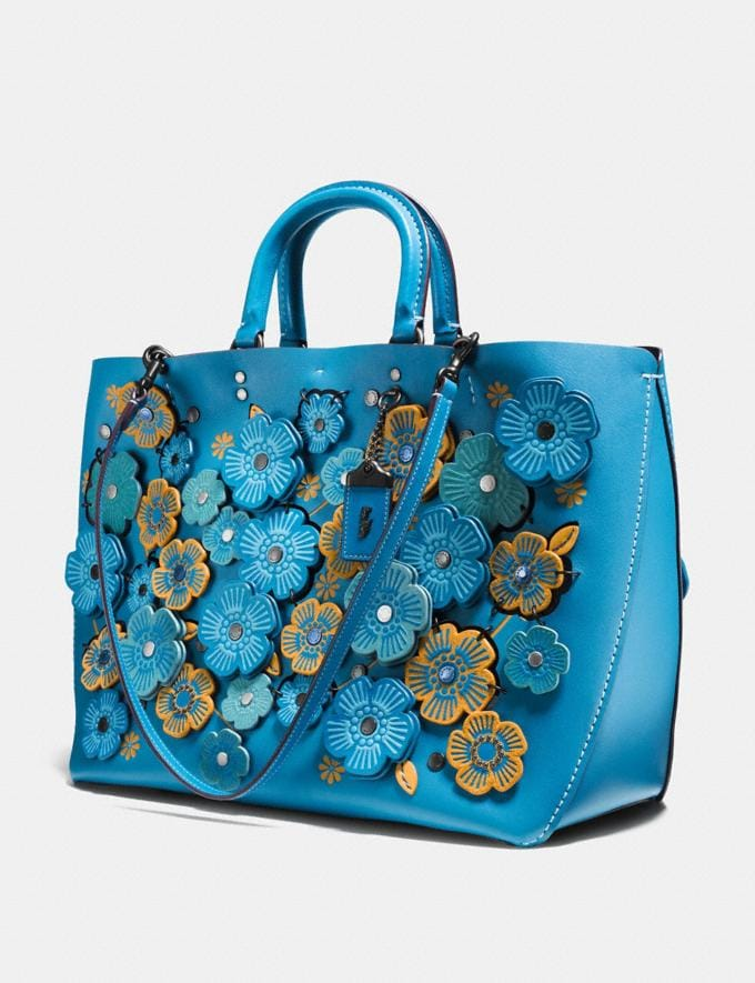 Coach Rogue Tote With Linked Tea Rose Dark Turquoise/Black Copper  Alternate View 2