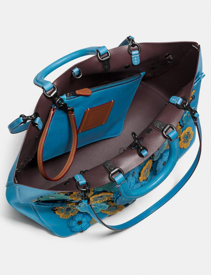 Coach Rogue Tote With Linked Tea Rose Dark Turquoise/Black Copper  Alternate View 3