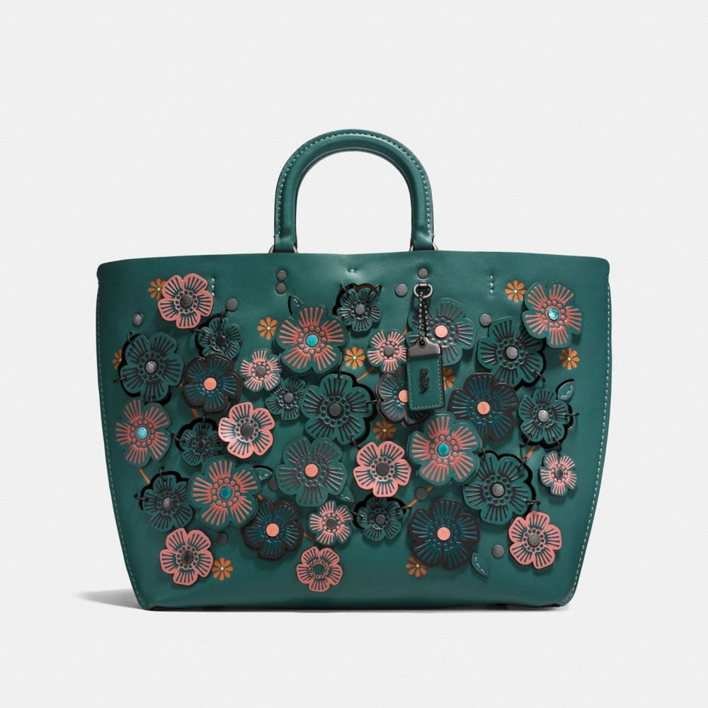 ROGUE TOTE WITH LINKED TEA ROSE IN GLOVE CALF