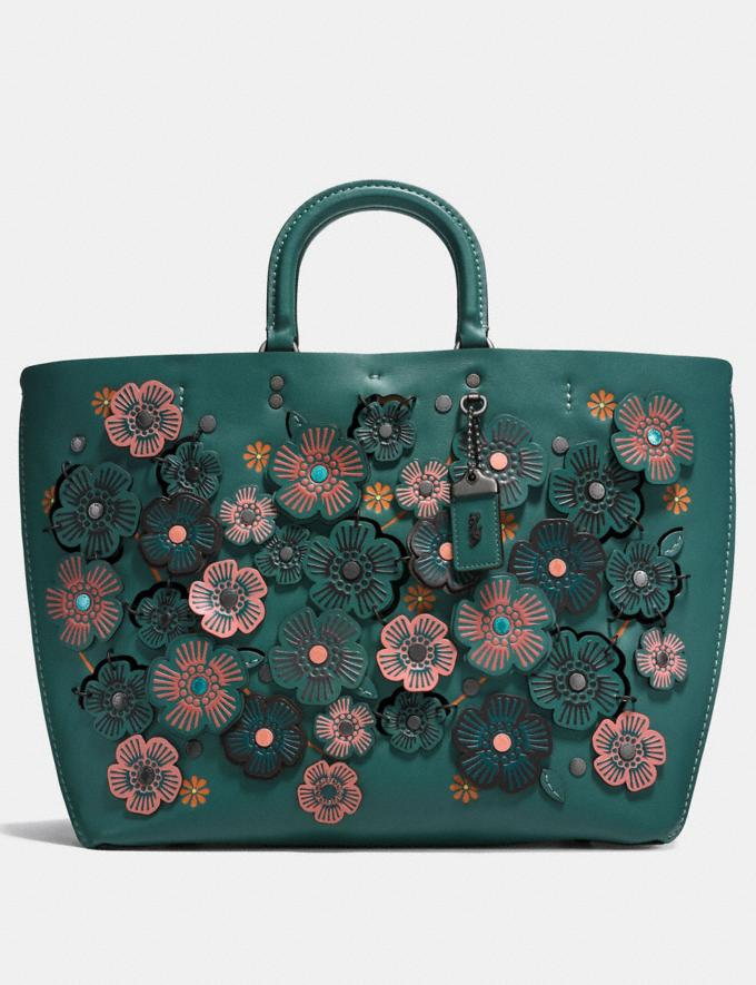 Coach Rogue Tote With Linked Tea Rose Dark Turquoise/Black Copper