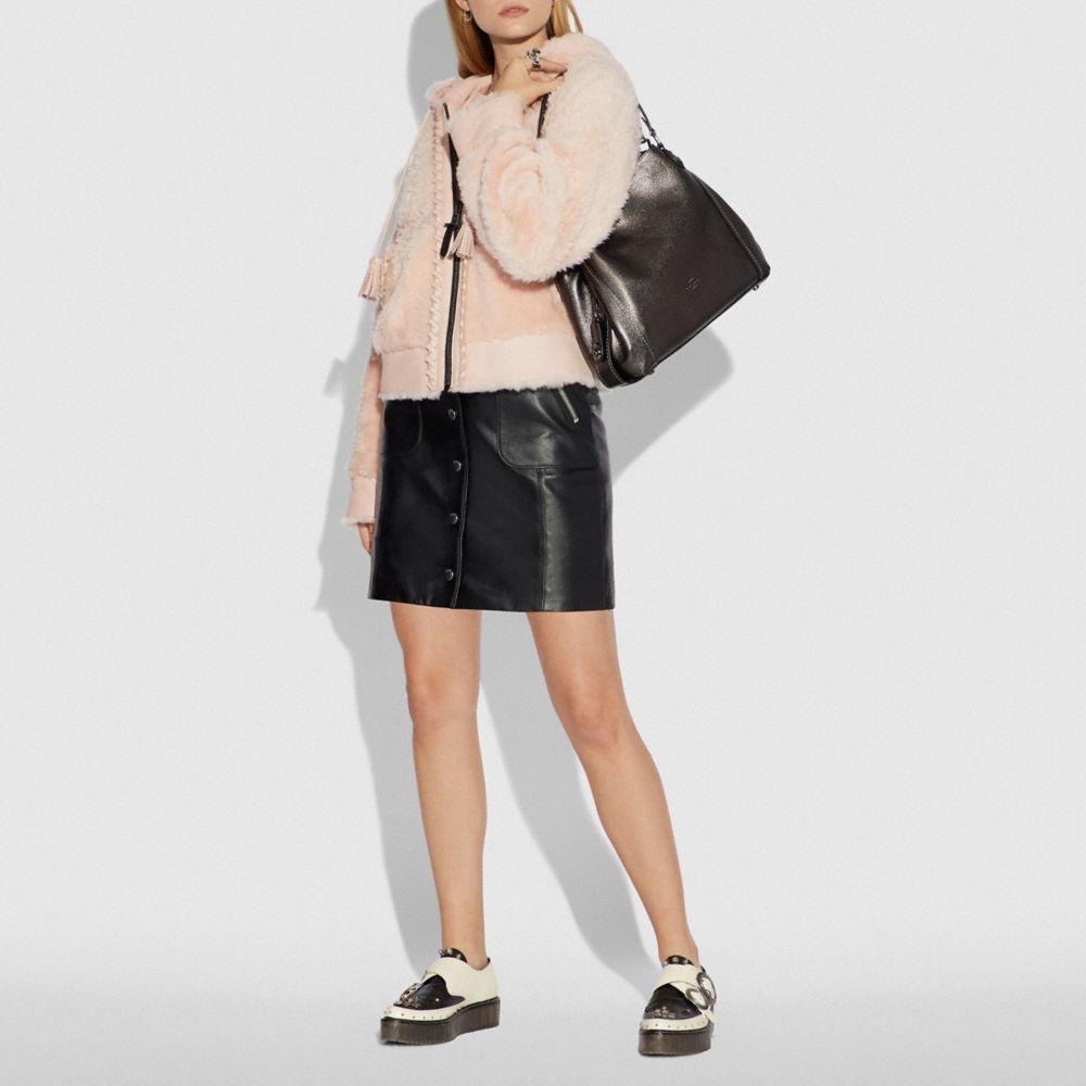 Edie Shoulder Bag 31 in Metallic Leather - Alternate View A3