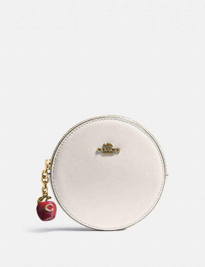 Coach Round Coin Case With Apple B4/Chalk Women Small Leather Goods Small Wallets