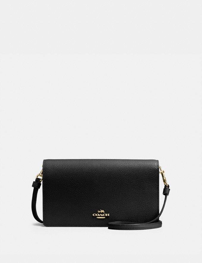 Coach Hayden Foldover Crossbody Clutch Black/Light Gold Women Accessories