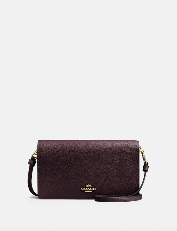 Coach Hayden Foldover Crossbody Clutch Oxblood/Light Gold Women Wallets & Wristlets Crossbody Wallets
