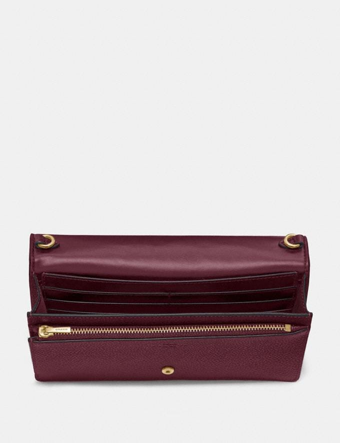 Coach Hayden Foldover Crossbody Clutch Oxblood/Light Gold Women Wallets & Wristlets Crossbody Wallets Alternate View 2
