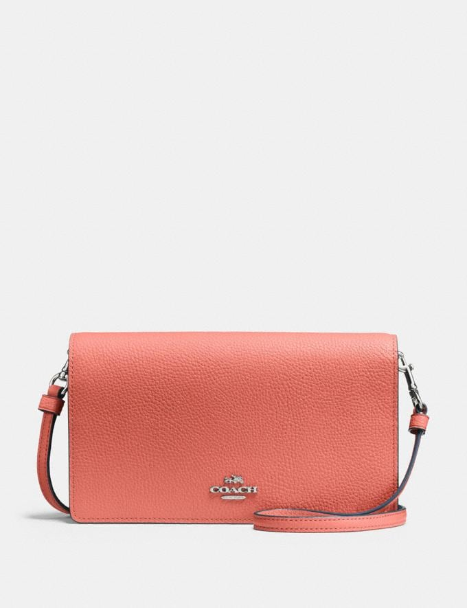 Coach Hayden Foldover Crossbody Clutch Bright Coral/Silver Women Bags Crossbody Bags