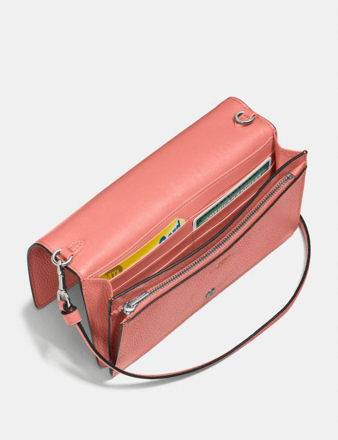 Coach Hayden Foldover Crossbody Clutch Bright Coral/Silver Women Bags Crossbody Bags Alternate View 2