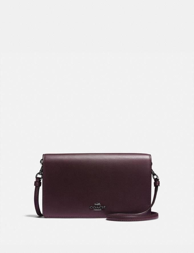 Coach Hayden Foldover Crossbody Clutch Oxblood/Dark Gunmetal Women Handbags Crossbody Bags