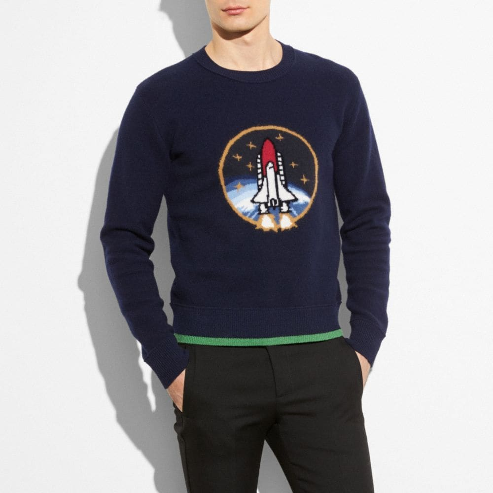 Coach Rocket Shuttle Intarsia Sweater